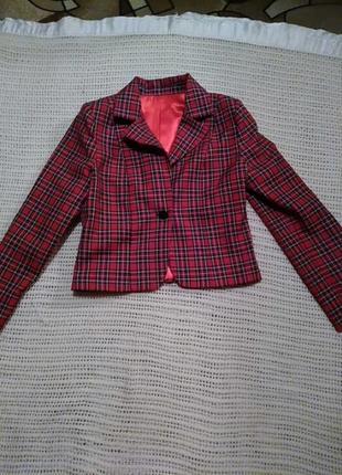 Стильный укороченный пиджак(шотландская клетка) на подкладке1