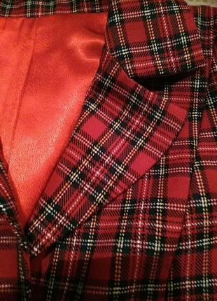Стильный укороченный пиджак(шотландская клетка) на подкладке2