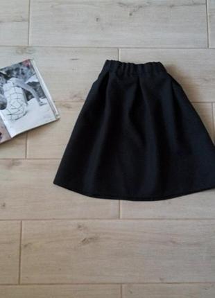 Базовая юбка солнце клеш со складками с высокой талией на замочке р. xs s1