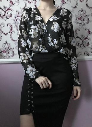 Шифоновая блузка в цветок2