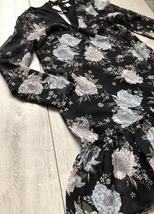 Платье в цветочек/платье в цветочный принт/летнее платье/платье с рюшей h&m5