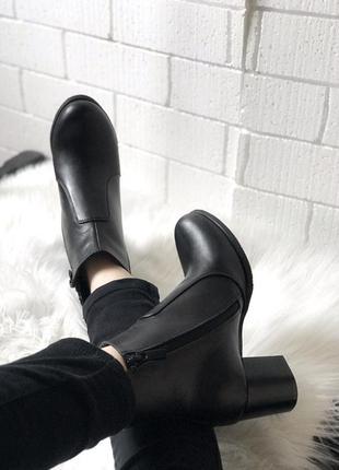 Ботильоны кожаные , ботинки, натуральная черная кожа, весна , демисезон , 36-407