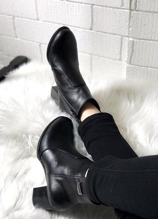Ботильоны кожаные , ботинки, натуральная черная кожа, весна , демисезон , 36-403