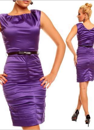 Фиолетовое деловое платье4
