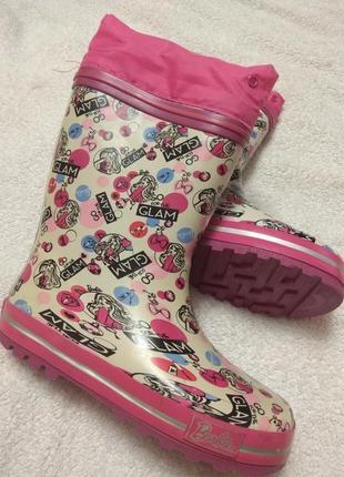 Резиновые сапоги для девочки 30р. barbie.