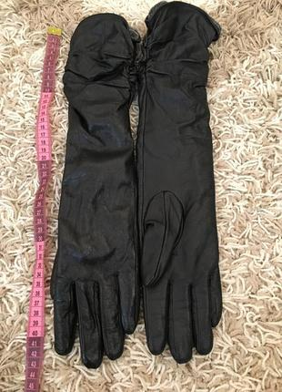 Перчатки кожаные длинные1