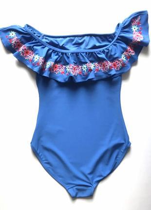 Тренд! шикарный сдельный, слитный купальник бандо с воланом и вышивкой, f&f, м2 фото