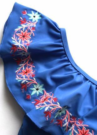 Тренд! шикарный сдельный, слитный купальник бандо с воланом и вышивкой, f&f, м4 фото