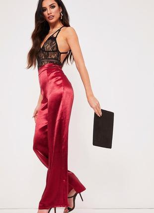 Сатиновые брюки высокой посадки палаццо в бельевом стиле prettylittlething