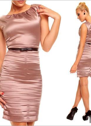 Коричневое деловое платье5 фото