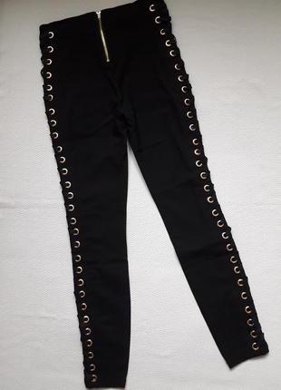 Суперовые стрейчевые брюки со шнуровкой сбоку высокая посадка amisu2 фото