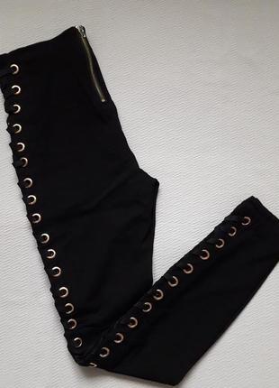 Суперовые стрейчевые брюки со шнуровкой сбоку высокая посадка amisu5 фото