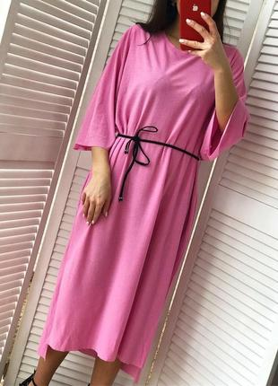Стильное платье миди с карманами1