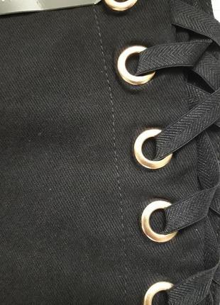 Суперовые стрейчевые брюки со шнуровкой сбоку высокая посадка amisu7 фото