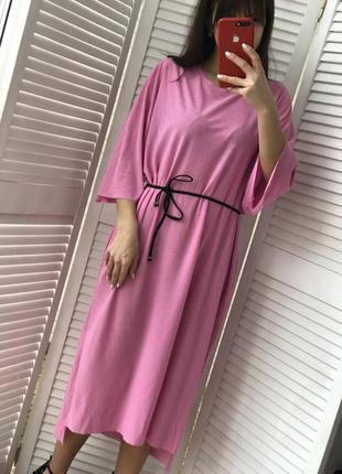 Стильное платье миди с карманами2