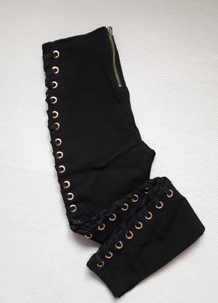 Суперовые стрейчевые брюки со шнуровкой сбоку высокая посадка amisu10 фото