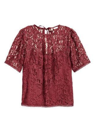 Бордовая блуза в кружево с завязками zara2