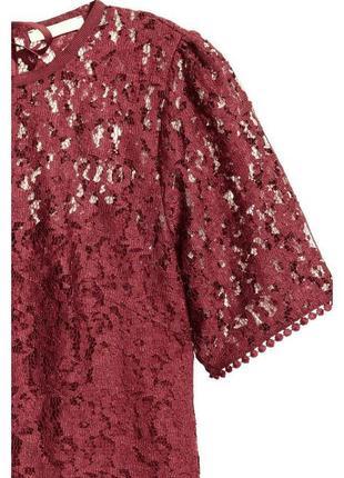 Бордовая блуза в кружево с завязками zara3