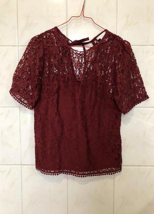 Бордовая блуза в кружево с завязками zara4