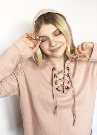 Кофта толстовка худи свитшот на завязках шнуровке нежно розовый new look1