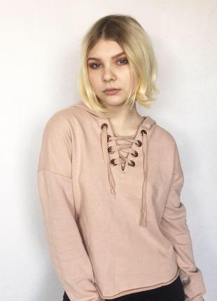 Кофта толстовка худи свитшот на завязках шнуровке нежно розовый new look3
