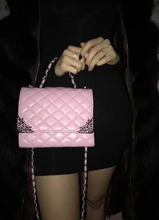 Розовая стильная сумка2 фото