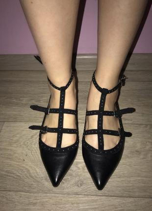 Балетки чёрные , туфли кожаные2 фото
