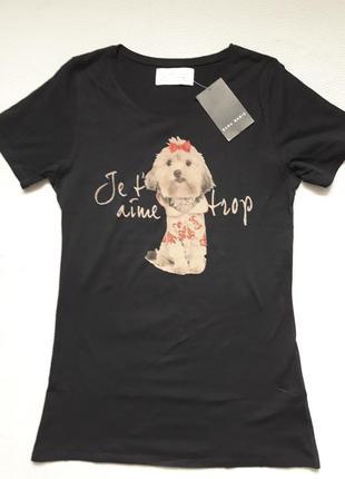 Классная хлопковая футболка принт собачка со стразами zara basic1 фото