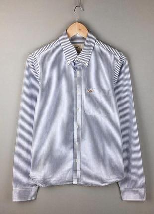 Полосатая рубашка holister хлопковая мужская логотип чайки чоловіча сорочка