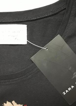 Классная хлопковая футболка принт собачка со стразами zara basic4 фото