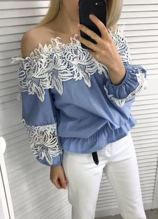 Шикарна блузка-топ з кружевом2