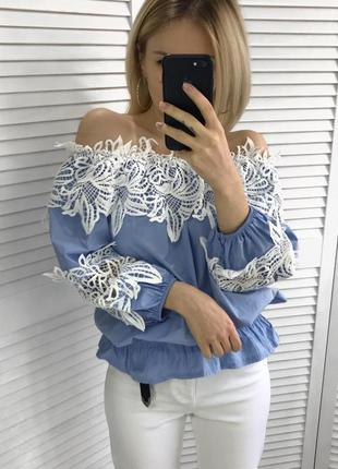 Шикарна блузка-топ з кружевом
