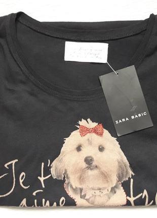 Классная хлопковая футболка принт собачка со стразами zara basic7 фото