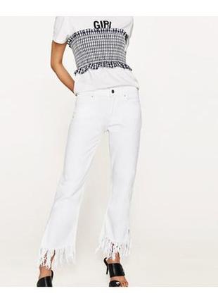Круті джинси з тороченим низом zara8