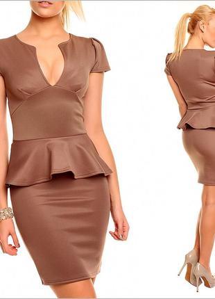 Коричневое платье с баской3