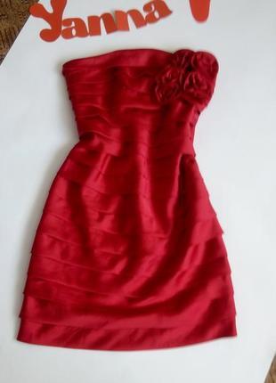 Платье мини вечернее бюстье короткое красное 46 размер на выпускной glamorous1