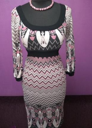 Красивое трикотажное платье, размер s, xs3 фото