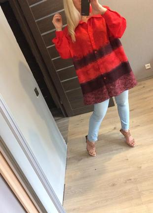 Огненная удлиненная блуза4