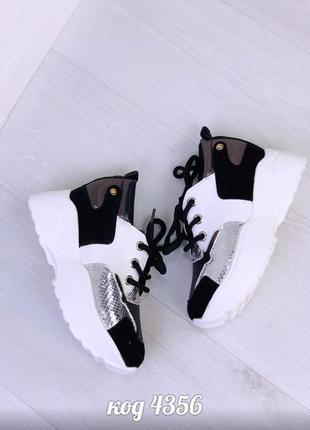 Стильные кроссовки с серебристыми вставками на платформе 😎4 фото