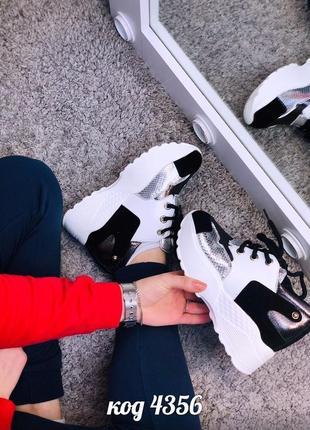 Стильные кроссовки с серебристыми вставками на платформе 😎7 фото