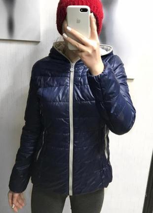 Осенняя весенняя темно- синяя куртка1