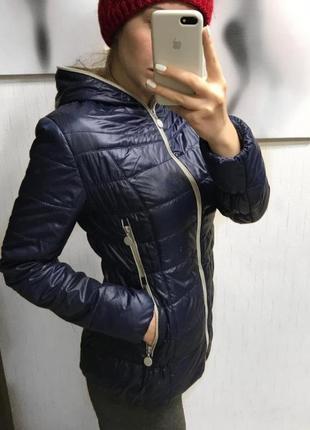 Осенняя весенняя темно- синяя куртка3