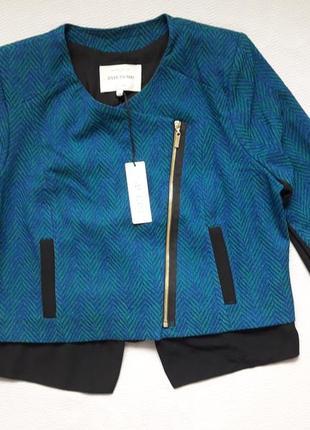 Крутой фирменный пиджак жакет косуха на молнии большого размера river island