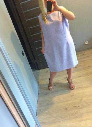 Нежное фиалковое платье футляр в цветы р.221 фото