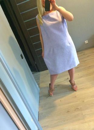 Нежное фиалковое платье футляр в цветы р.223 фото