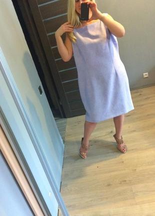 Нежное фиалковое платье футляр в цветы р.225 фото