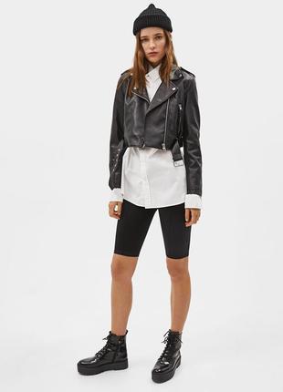 Новая укороченная куртка в байкерском стиле bershka косуха3