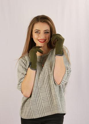 Женские перчатки болотного цвета размер 6,5-7-8,51