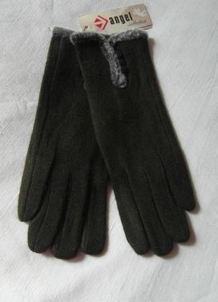 Женские перчатки болотного цвета размер 6,5-7-8,52