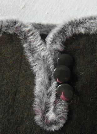 Женские перчатки болотного цвета размер 6,5-7-8,53